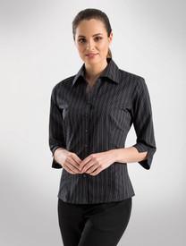 John Kevin Dark Stripe Black 3/4 Sleeve Shirt