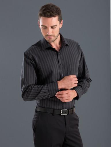 John Kevin Mens L/S Dark Stripe Shirt