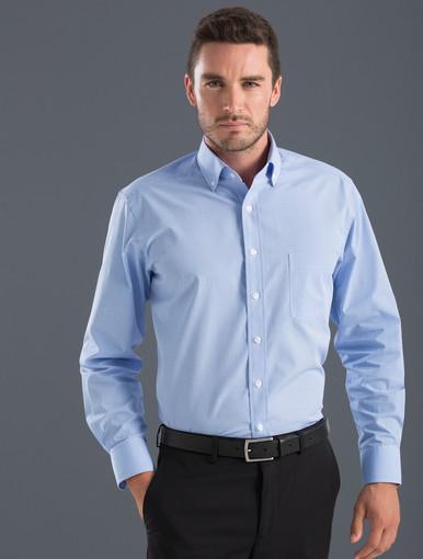 John Kevin Mens L/S Blue Multicheck Shirt