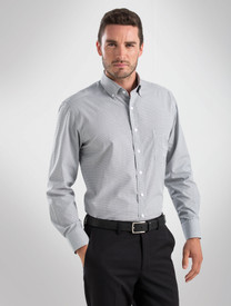 John Kevin Mens Grey L/S Multicheck Shirt