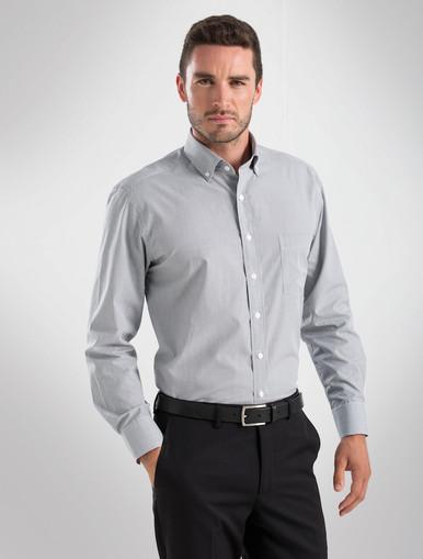 John Kevin Mens Grey L/S Multicheck Shirt