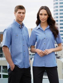 Biz Collection Wrinkle Free Mens S/S Chambray Shirt