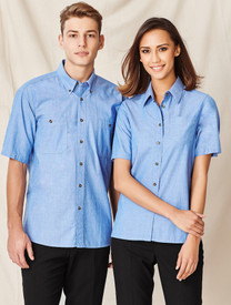 Wrinkle Free Ladies S/S Chambray Shirt