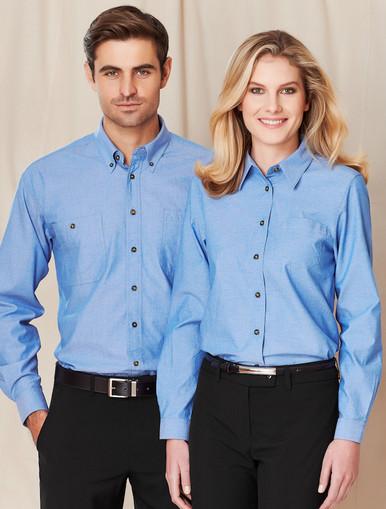 Wrinkle Free Ladies L/S Chambray Shirt