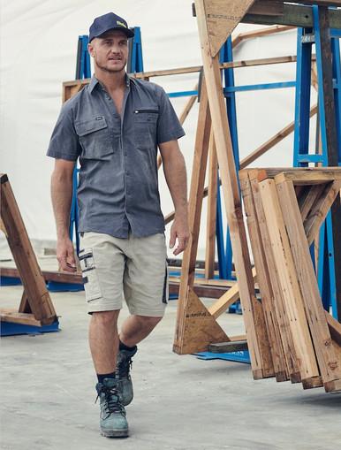 Stretch Utility Zip Cargo Shorts