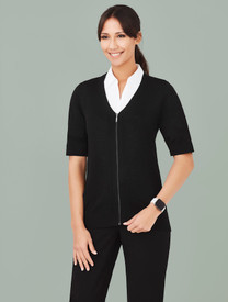 Womens Zip Front Short Sleeve Knit