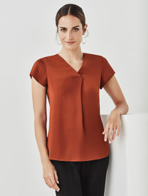 Kayla V-neck Pleat Blouse