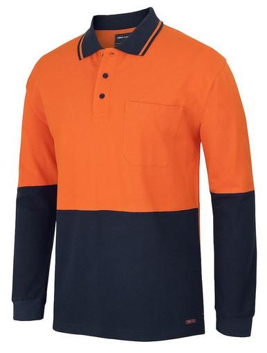 Hi Vis 100% Cotton L/S Pique Polo