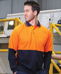 Cotton Back Hi Vis L/S Polo