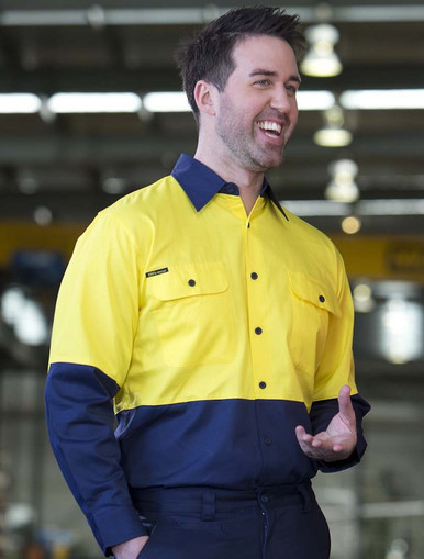 Hi Vis L/S  Lightweight Cotton Drill Shirt with mesh underarm