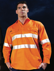 Hi Vis D/N Close Front L/S Shirt 190G