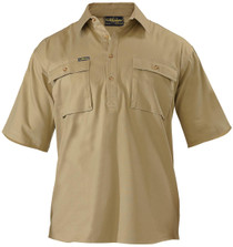 Bisley Closed Front Mens Khaki S/S Cotton Drill Shirt