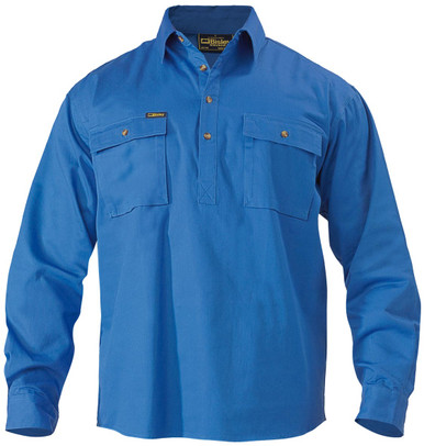 Bisley Closed Front L/S Royal Cotton Mens Drill Shirt