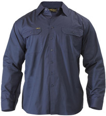 Bisley Cool Lightweight Navy Mens Long Sleeve Drill Shirt