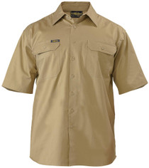 Bisley Cool Lightweight Khaki Mens Short Sleeve Drill Shirt