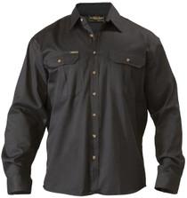 Bisley Original Cotton Black Mens Long Sleeve Drill Shirt