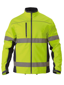 Bisley Yellow/Navy Soft Shell Jacket with 3M Reflective Tape