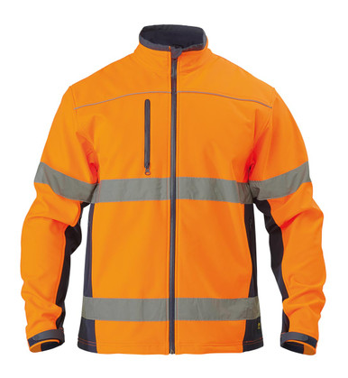 Bisley Orange/Navy Soft Shell Jacket with 3M Reflective Tape