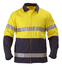 Bisley Yellow/Navy 2 Tone Hi Vis Drill Jacket 3M Reflective Tape