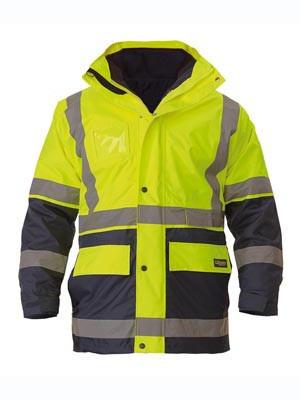 Bisley Yellow/Navy Hi Vis 5 In 1 Rain Jacket