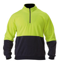 Bisley Yellow/Navy Hi Vis Polar Fleece Zip Pullover