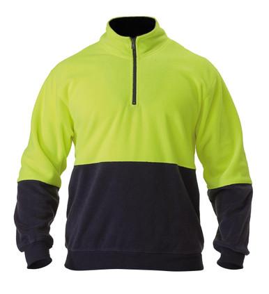 Bisley Yellow/Navy Hi Vis Polar Fleece Zip Pullover