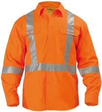 Bisley 3M X Taped Hi Vis Long Sleeve Mens Drill Shirt
