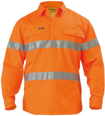 Bisley Hi Vis 3M Reflective Tape Closed Front Mens Drill Long Sleeve Shirt