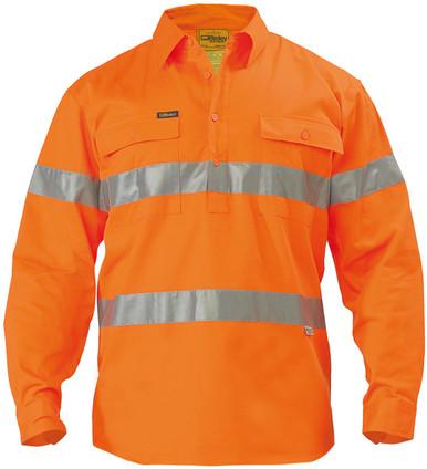 Bisley Hi Vis 3M Reflective Tape Closed Front Mens Drill Long Sleeve Shirt