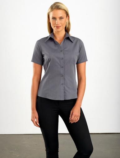 John Kevin Women's Short Sleeve Graphite Chambray
