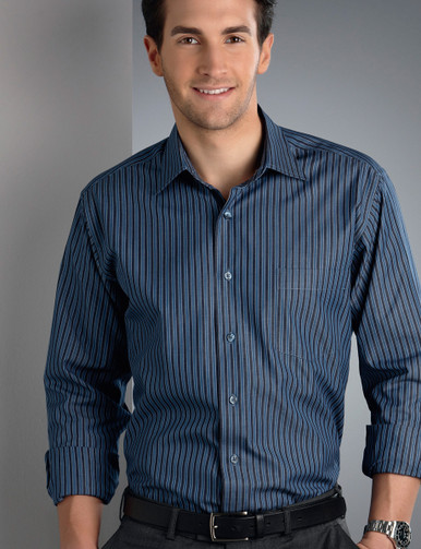 John Kevin Mens L/S Bold Stripe Shirt