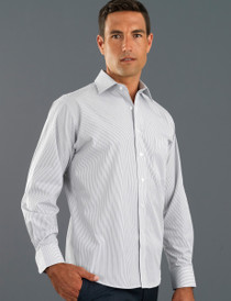 John Kevin Mens L/S Herringbone Stripe Shirt - No Returns