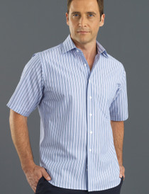 John Kevin Mens S/S Fashion Stripe Shirt - No Returns