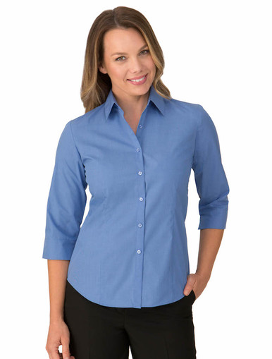 Blue Micro Check 3/4 Sleeve Shirt
