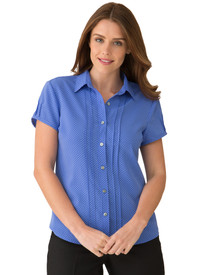 City Collection City Stretch Blue Spot Cap Sleeve Shirt