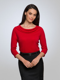 City Collection Red Eva 3/4 Sleeve Cowl Neck Top