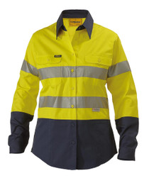 2 Tone HiVis Lightweight Womens L/S Shirt 3M Reflective Tape