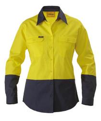 Womens 2 Tone L/S Hi Vis Drill Shirt