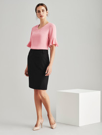Ladies Multi Pleat Wool Blend Skirt