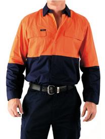 Bisley 2 Tone Hi Vis Cool L/S Lightweight Shirt