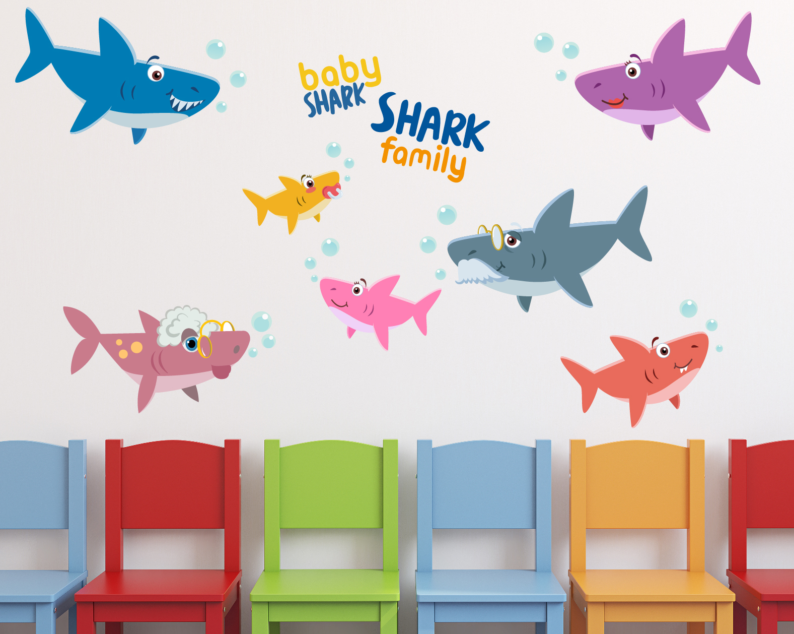 Baby Shark Family Wall Decals 1493
