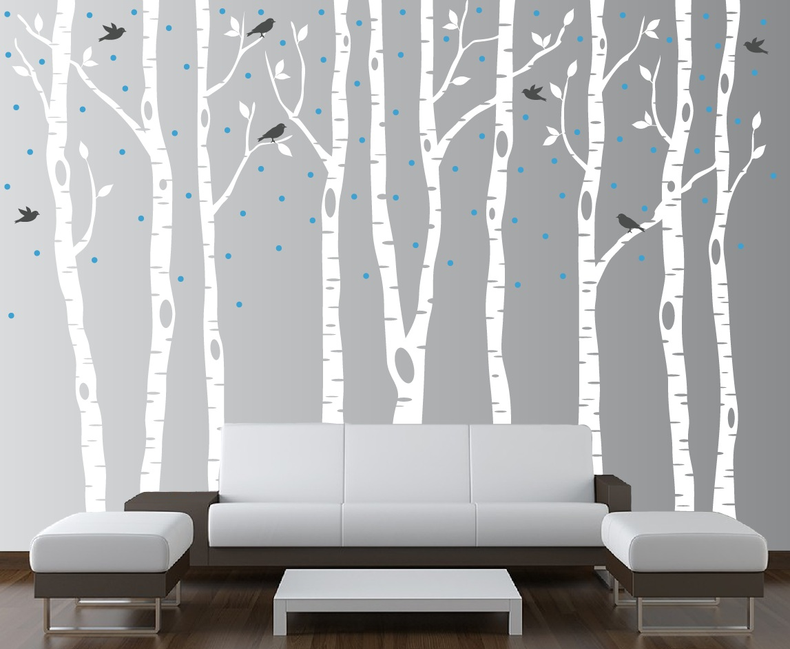 Birch tree foerst decal with deer snow and