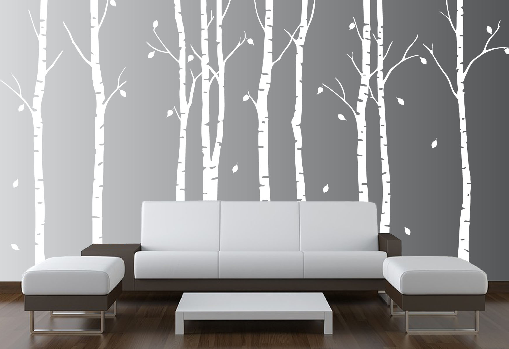Large wall birch tree nursery decal forest kids vinyl for Large tree template for wall