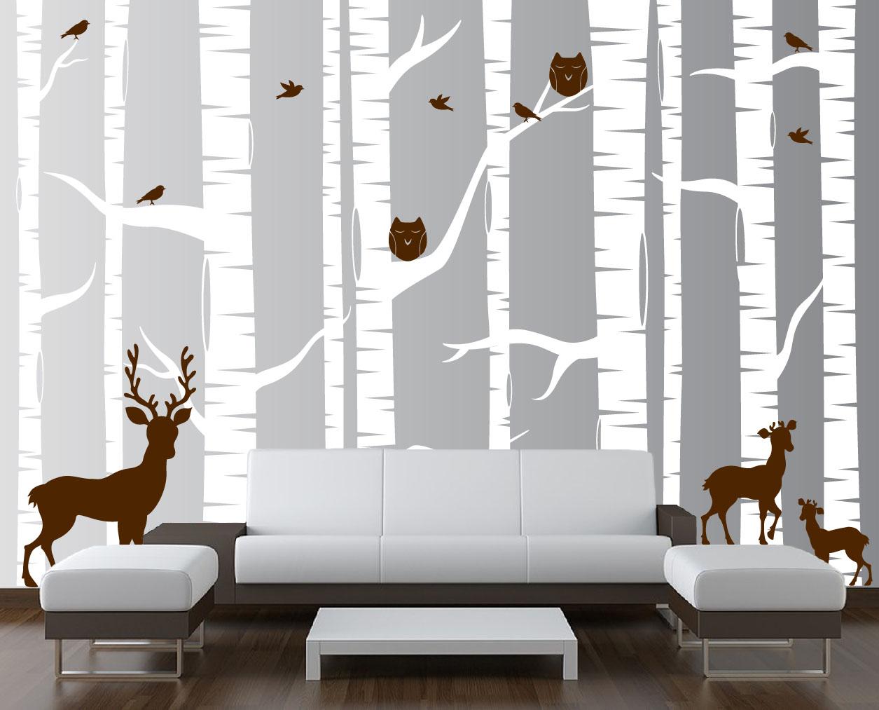 birch-tree-wall-decal-white-woodland-1323.jpg & Birch Tree Forest Set Vinyl Wall Decal Owls Deer #1323 ...