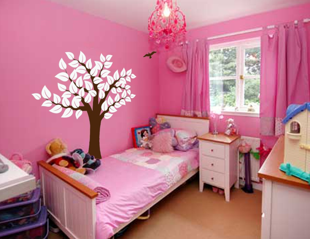 Kids Decals For Bedroom Walls Large Wall Tree Nursery Decal Girl Room Decor With Leaves