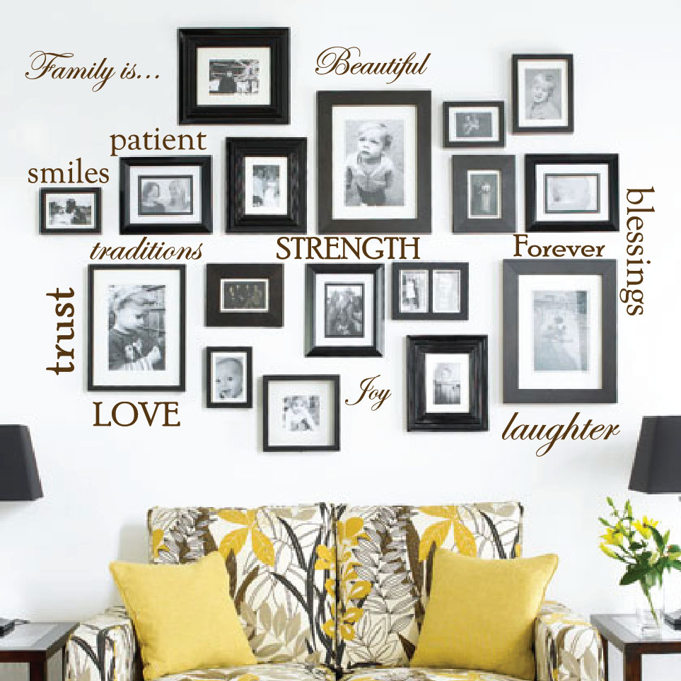 family-picture-frame-word-wall-decals-brown.jpg  sc 1 st  Innovative Stencils & Set of 12 Family Quote Words Vinyl Wall Sticker Picture Frame Wall ...