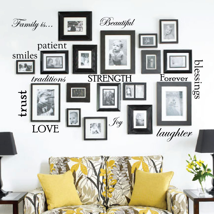 family-picture-frame-word-wall-decals.jpg  sc 1 st  Innovative Stencils & Set of 12 Family Quote Words Vinyl Wall Sticker Picture Frame Wall ...