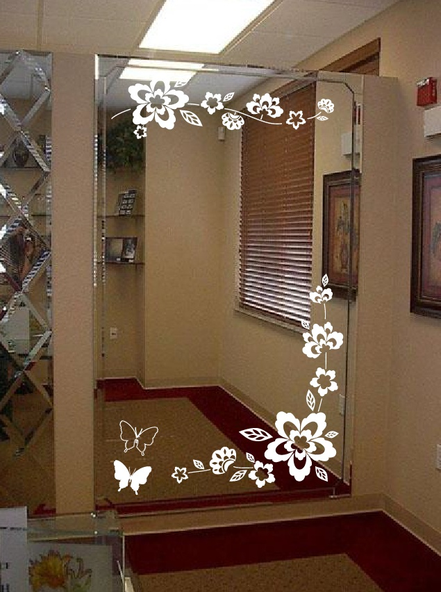 Hallway mirror floral butterfly ornament corner decal jpg large wall floral blossom nursery mirror ornament