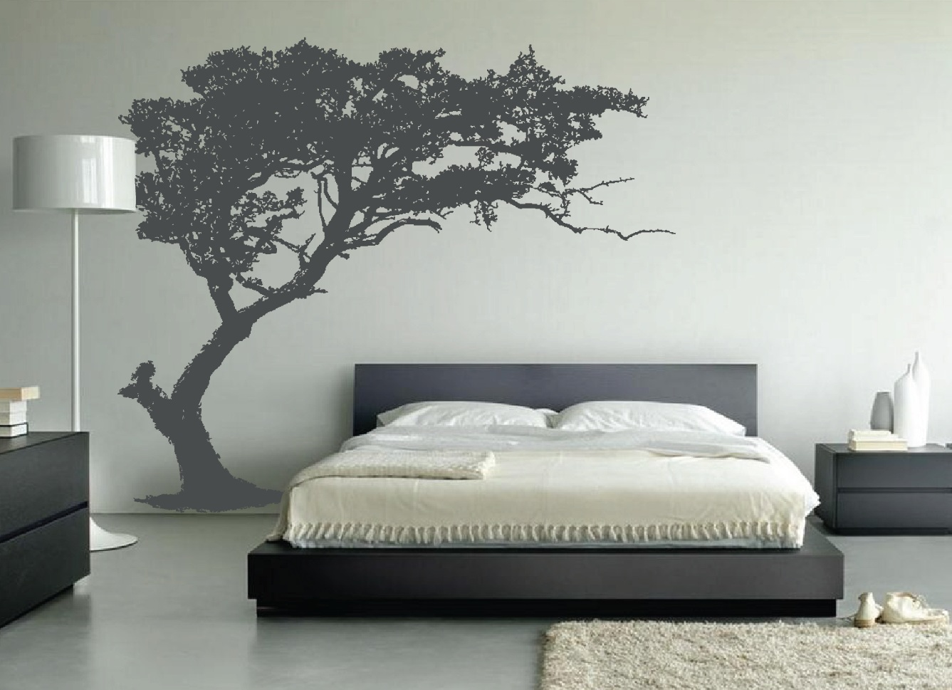 large wall tree decal forest decor vinyl sticker highly 10730 | leaning tree wall decal bedroom decor 1130