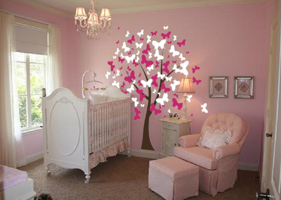 nursery-room-butterfly-tree-wall-decal-1140.jpg : pink butterfly wall art - www.pureclipart.com